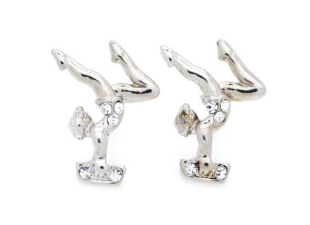 Gymnast On Beam Silver Earrings (Pair) - Post