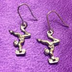 Gymnast On Bean Silver Earrings (Pair) - Dangle