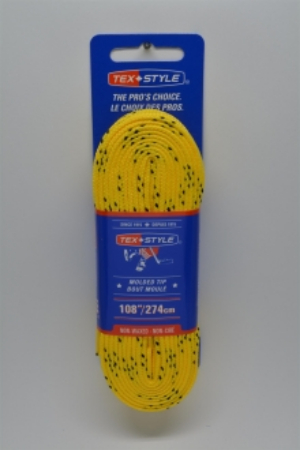 """Cotton laces with """"double"""" black stripe 72"""" in Yellow (Package of 12 pairs)"""