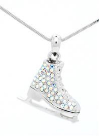 Skate Crystal/Enamel Pendant with Chain