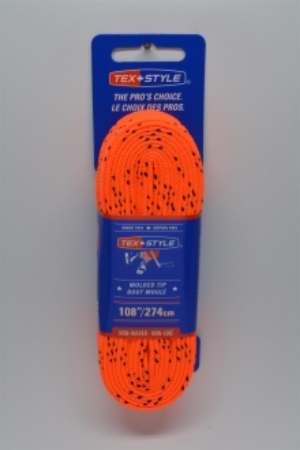 """Cotton laces with """"double"""" black stripe 72"""" in Orange (Package of 12 pairs)"""