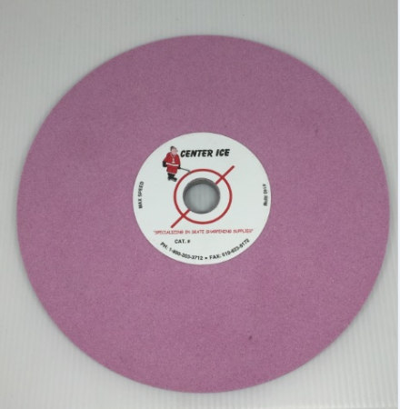 """Pink 80 Grit 8"""" x 5/16"""" x 3/4"""" Fleming Gray Table Top Grinding Wheel"""