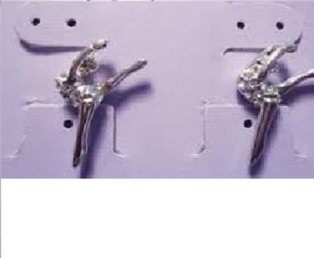 """Gymnast/Dancer  """"Leg Up"""" Silver Earrings (Pair) - Post"""